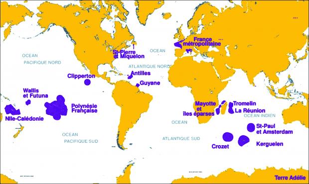 Carte du domaine maritime de la France à travers le monde (source: Ifremer)